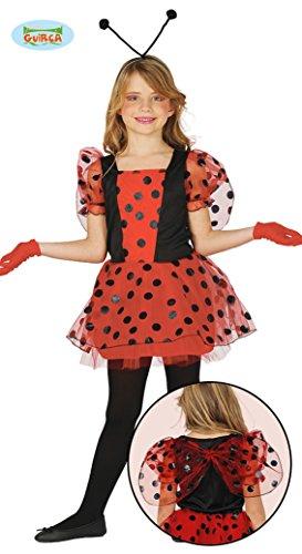 Marienkäfer Kostüm für Kinder Karneval Fasching Tier Rot Punkte Gr. 110 - 146, Größe:140/146
