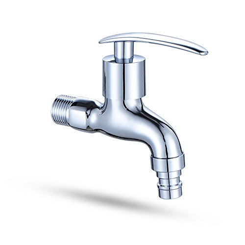 Hlluya Wasserhahn für Waschbecken Küche Die Messing Chrom in die Wand Waschmaschine Armaturen, Waschmaschine Nase Express öffnen Wasserhahn