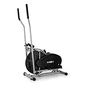 Klarfit Orbifit Basic & Advanced – Crosstrainer, Hometrainer, Ellipsentrainer, Luftwiederstand, höhenverstellbarer Lenker, Stahlrahmen, Softgriffe, Anti-Rutschpedalen, max. 100 kg, schwarz
