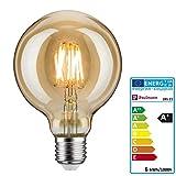Paulmann 28521 LED Vintage-Globe G95 Retro Leuchtmittel 6Watt dimmbar Glühfaden E27-Sockel Filament Gold 1.700K Goldlicht 500 Lumen