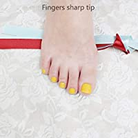 FARMERLY 2018 Buys French show cute candy fake toenails toes Lemon yellow #501: 5pcs