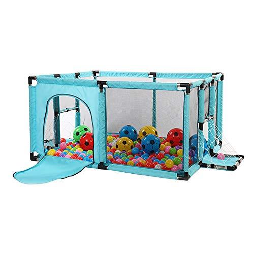 RFJJAL Laufstall Play Yard Kids Activity Center Mit Fußball-Schießtür, Indoor-Kindersicherheits-Spielplatz-Zaun, 120x100x62cm Laufgitter (Farbe : Blau)