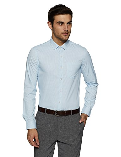 Excalibur EX Men's Solid Regular Fit Formal Shirt (276225104 Blue 40)