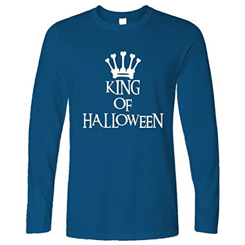 Neuheit Spooky Langarmshirt King of Halloween Crown Royal Blue - Crown Royal Kostüm Mädchen