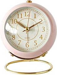 SHISEDECO Small Table Clocks, Classic Non-Ticking Tabletop Alarm Clock with Night Light, Battery Operated Desk