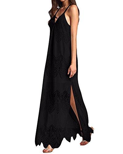 StyleDome Damen Blusen Kleid Schwarz