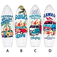Cuadro surfero decorativo para salón en madera con forma de tabla surf Hogar y mas -