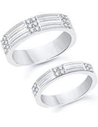 Vk Jewels Two Tone Rhodium Plated Alloy Couple Ring For Men & Women Made With Cubic Zirconia