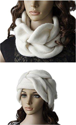 Prettystern - LUXE Foulard Bandeau Loop Femme Cachemire natte Form Unicolore - Disponible en 6 Couleurs Gris