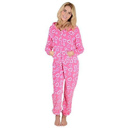 Damen Fleece Pyjama – Rosa Herzen Onesie - 4