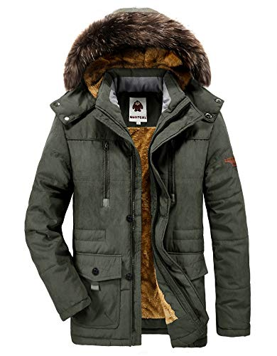 Ucamara Parka Jacket Mens Coats with Fur Hood Winter Warmth Thicken Casual Outwear Coat, A07-army Green, Gr. EU-XXL