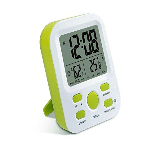 Kleiner Schreibtisch Tisch Oder Uhren (Digital Wecker wiederaufladbar, SSA Kleine Schreibtischuhr mit Temperatur, Feuchtigkeit, Woche 12 / 24h Display, Snooze, Reiseuhren für Teens, Kinder (Stand))