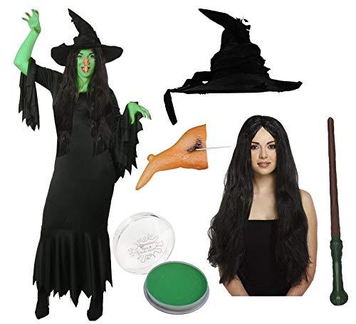 ILOVEFANCYDRESS MAGISCHES HEXEN ZAUBERIN KOSTÜME VERKLEIDUNG=Kleid+Hut+Nase+SCHMINKE+ZAUBERSTAB+Vampire PERÜCKE=Fasching Karneval Halloween=XXXLarge