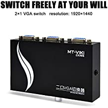 VGA Switch 2 Input 1 Output 15HDF 2 Ports Selector Switch Box Splitter Two Way VGA Switcher Video Switch for PC, Laptop, Desktop, Monitor, Projector and TV Monitor Sharing or Switching Black