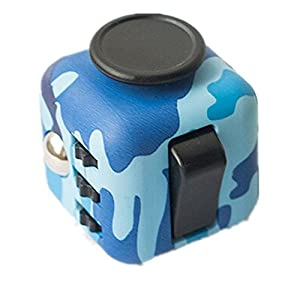 Best Style Camouflage Blue Fidget Cube Toy Anxiety Stress Attention Relief