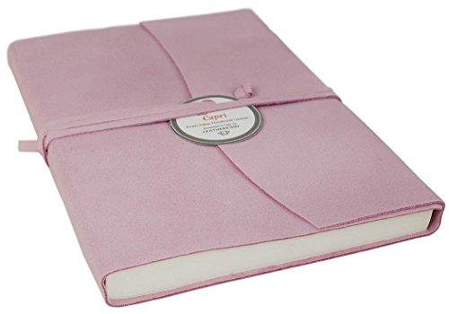 Capri Notizbuch handgefertigt mit Italienisches Ledereinband Lachs Large, blanko Seiten (21cm x 15cm...
