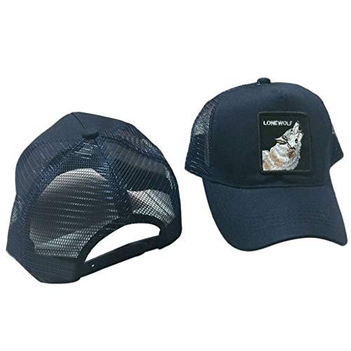 CADANIA Unisex Animal Bordado Parche Algodón Malla Gorra de béisbol  Camionero Sombrero Snapback Lobo Azul Marino 1b77f90fcd4