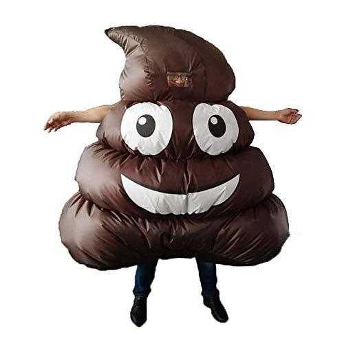 Kostüm Kackhaufen Form Lüfter Gebläse Erwachsene Ganzkörperanzug für Karneval Cosplay Weihnachten Halloween Party ()