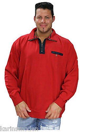 GREYSTONE Sweatshirt/Pullover 4XL 5XL Übergröße Rot mit TROYER Kragen Rot
