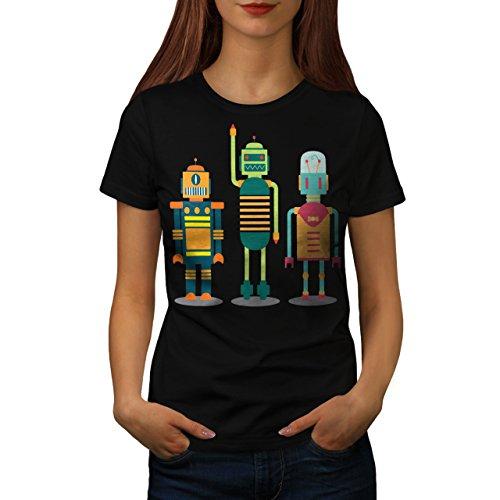 karikatur-roboter-party-kind-spa-damen-neu-schwarz-xxl-t-shirt-wellcoda