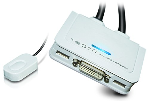 UNICLASS KVM-Switch 2-fach DVI / USB 2.0 / Audio KVM-Switch UDV-TA2 mit Hotkey-, Software- oder/und Remote-Umschaltung