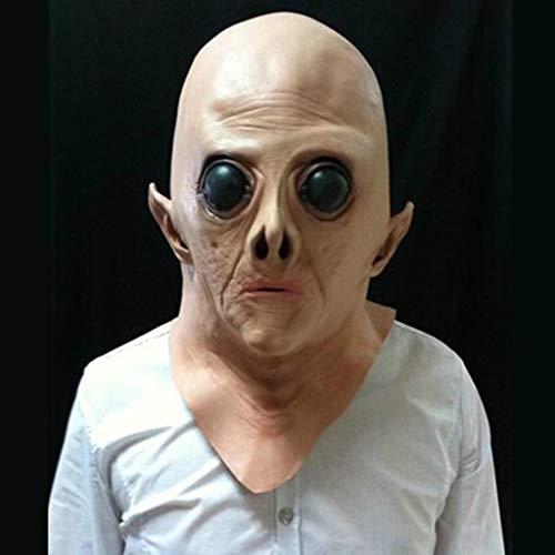 QWEASZER Filmthema Maske Cos Ghost Terror Erwachsene Scary Latex Deluxe Deadly Silence Alien Zombie Halloween Kopf und Hals Kostüm,Beige