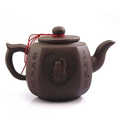 500ml de Yixing chinois Dieu de la Longévité faite à la main Violet Argile poterie Zisha Théière