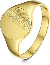 Theia Oval Shape Engraved Design 9 ct Yellow Gold Signet Ring