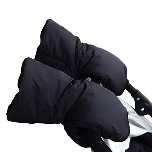 WDXIN Kinderwagen Handschuhe Im Freien Baby Warenkorb Warm Bleiben Handschuh Winddicht Plüsch Kinderwagen Frostschutzmittel Handabdeckung Plus SAMT Verdicken,Black,19 * 31 * 3Cm