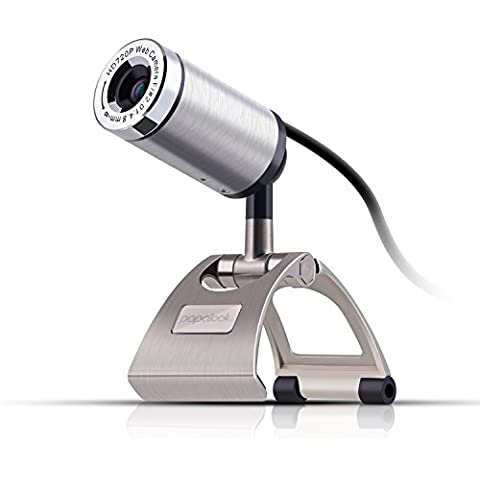 Papalook PA150 Webcam de Alta Definición 720P con Microfono y Conector USB 2.0, Videocámara Plug and Play Compatible con Skype/MSN/Facebook, Cámara web con gran apertura para PC, Portátil, etc. - Gris