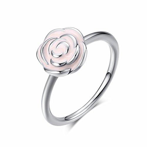 Twenty Plus Fashion Süße Lady Mädchen Rose Garden stapelbar Ring Rosa Emaille für Frauen Hochzeit (Süße Finger-ringe Für Frauen)