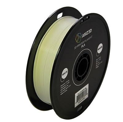 1.75mm White PLA 3D Printer Filament - 1kg Spool (2.2 lbs) - Dimensional Accuracy +/- 0.03mm