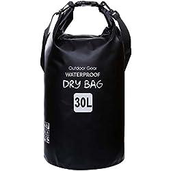 ZhaoCo Sac étanche, 5L/10L/20L/30L Sac Sec PVC Dry Bag Sack avec Sangle Réglable pour Kayak Bateau Canoeing Pêche Camping Piscine Rafting Snowboard Plein Air Sports Aquatiques (Noir, 30L)