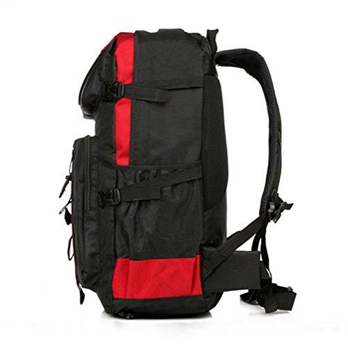 borsa sport all'aria aperta, uomini e donne, il sacchetto di svago di viaggio, poliestere impermeabile grande zaino, sacchetto dei bagagli, sacchetto di alpinismo esterno, 60L borsa a tracolla grande  black red