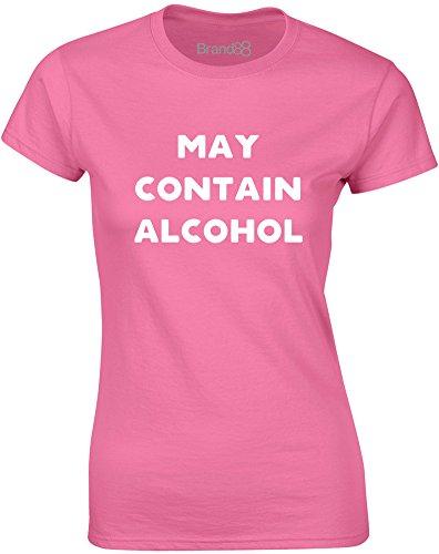Brand88 - May Contain Alcohol, Gedruckt Frauen T-Shirt Azalee/Weiß