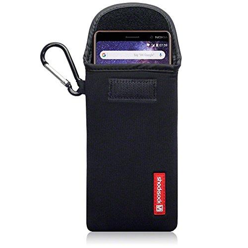 Shocksock Cover Nokia 7 Plus, Neoprene Custodia Sacchetto Manicotto con Carabiner per Nokia 7 Plus Custodia, Colore: Nero