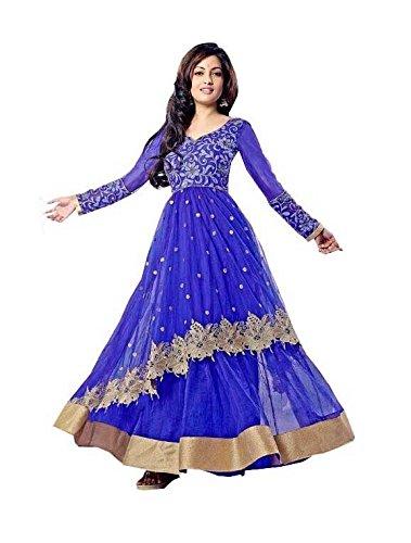 Z Fashion Women\'s Riya Blue Color Net Embroidered Semi-stitched V-Neck Full Sleeve Free Size Anarkali Gown