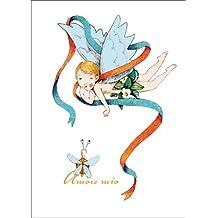 Romantische Engels Grußkarte/ Liebeskarte: Amore mio auch als Valentinskarte • auch zum direkt Versenden mit ihrem persönlichen Text als Einleger.