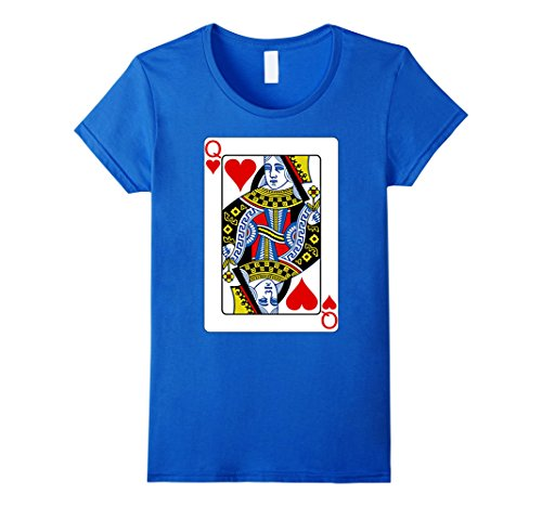 Playing Card Queen of Hearts T-Shirt Valentine's Day Costume Damen, Größe L (Card Costume Queen Playing)