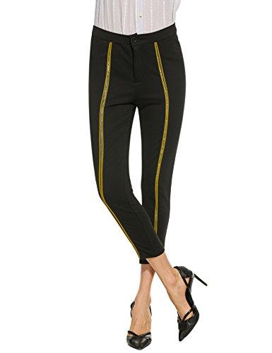 Meaneor Hosen Damen Elegant High Waist Pants Skinny Casual Streetwear Lange  Hose Gelb