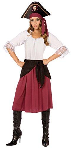Karneval-Klamotten Piratin Kostüm Piratenkostüm Damen Kostüm Karneval Damenkostüm Bordeaux-weiß-schwarz Kleid, Schärpe inkl. Piraten-Hut Größe 44/46