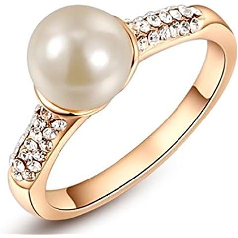 Da donna Platino/placcato oro rosa cristalli pavimentazione Single Pearl Anelli