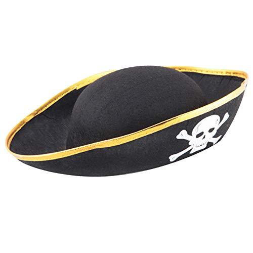 (Lanking Halloween Prop, Maskerade Party Cap Hut Stoff Tuch Material Schädel Print Piratenkapitän Kostüm Rolle (Gold))