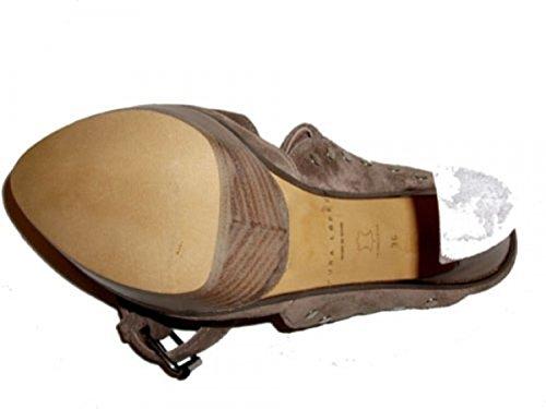 Pura Lopez Damen Sling Sandalen Velourwildleder s358 taupe Braun