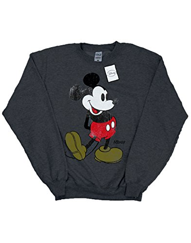 Disney Herren Mickey Mouse Classic Kick Sweatshirt Dunkle Heather