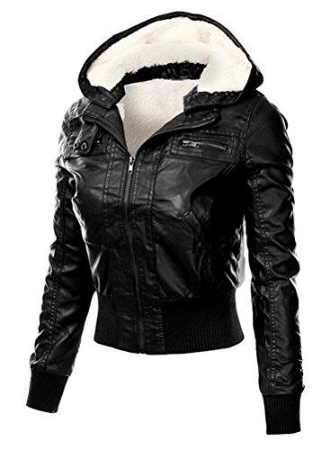 Brinny Damen Kapuzen Lederjacke Motorradjacke Oberbekleidung Kunstlederjacke Leder Jacke Jacket Bikerjacke Blazer Winterjacke Parka Gefüttert-Schwarz S - 3