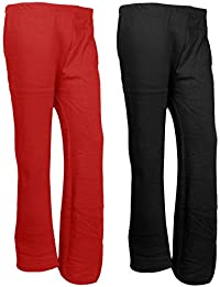 Indistar Womens Warm Woolen Full Length Palazo Pants For Winters_Free Size_Red/Black