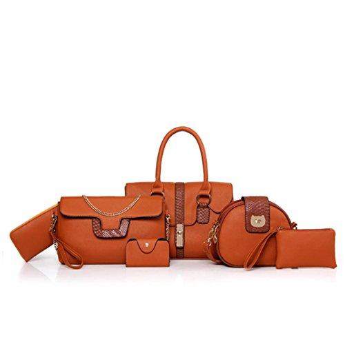 Vovotrade Le nuove donne della moda multiuso similpelle borsa di cuoio della borsa della spalla Confezione da 6 Borse (Marrone) Grigio