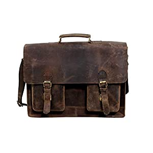 Buffalo Hunter 18 Zoll Retro Leder Laptop Messenger Tasche für Laptop