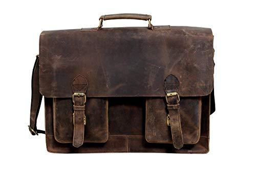 Buffalo Hunter 18 Zoll Retro Leder Laptop Messenger Tasche für Laptop